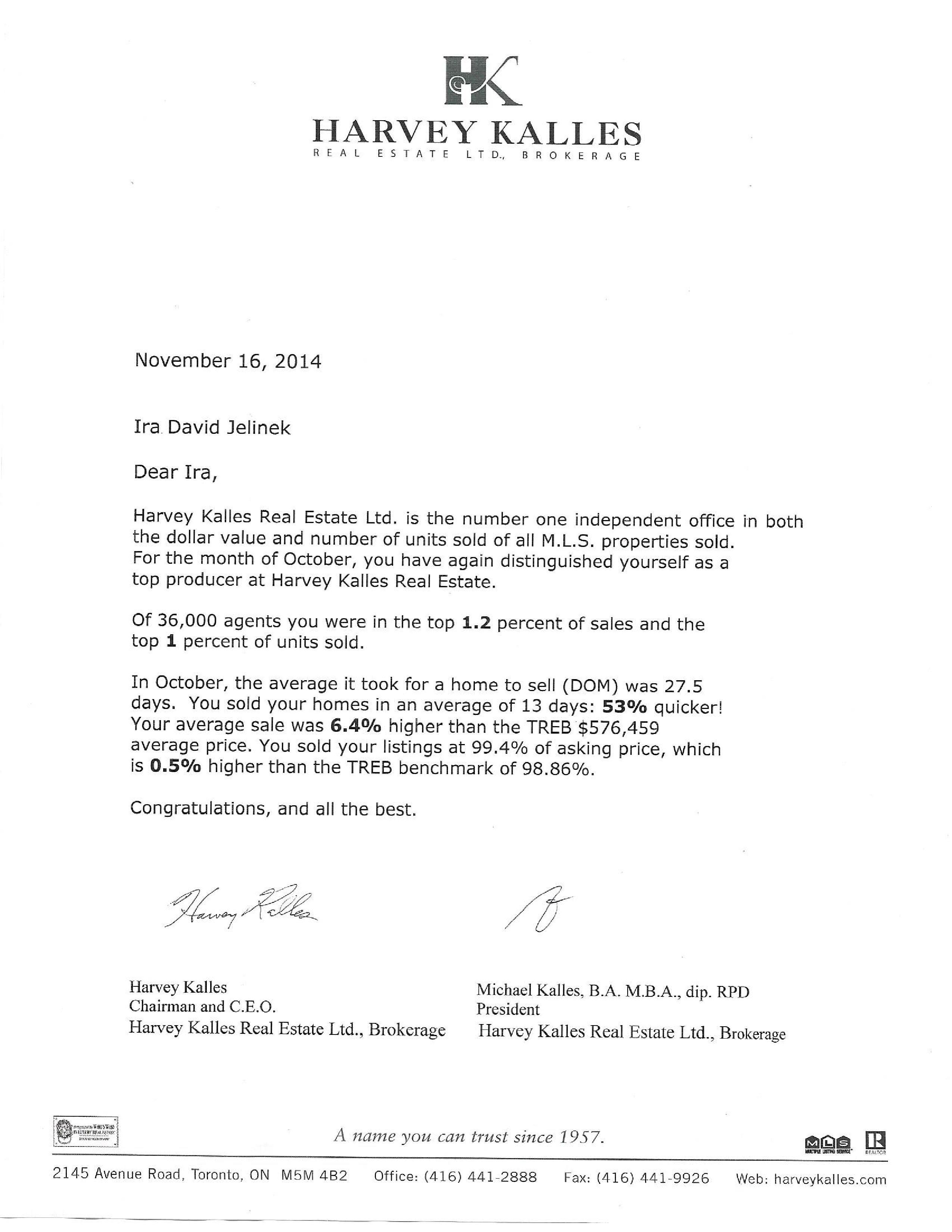 Harvey Kalles Letter 2